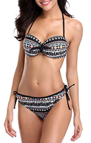 Anwell Bikini Damen Set Bikini Set Bademode Bandeau Unterwire Neckholder Schwarz L