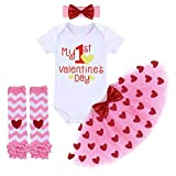 My 1st Valentine's Day Outfit Baby Girls Sequins Heart Romper + Ruffle Tulle Tutu Skirt + Bow Headband + Leg Warmers Birthday Party Dress 4PCS Clothes Set Pink - 1st Valentine's Day 03 0-6 Months