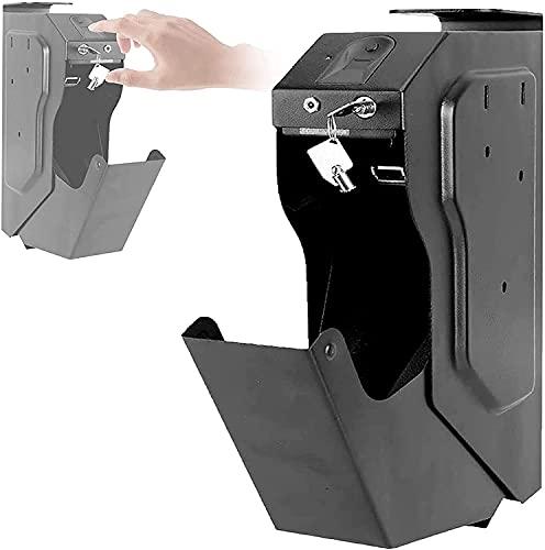 AACXRCR Cassetta di sicurezza per impronte digitali, impronta digitale Biometrica e chiave di riserva Cassaforte a pistola a pistola, facile da installare su comodini, scrivanie, armadi, servizi igien