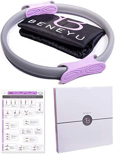 beneyu ® Rutschfester & Superleichter Pilates Ring - Oberschenkeltrainer - 36cm +Tasche +Übungen (lila anthrazit, 36 cm)