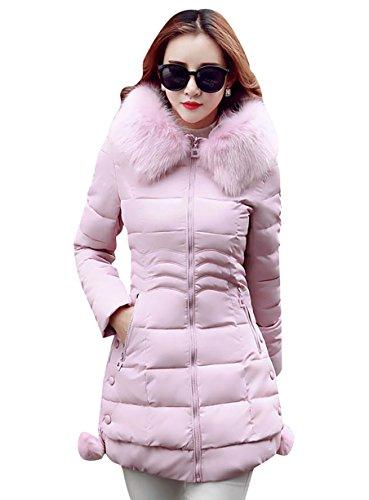 MISSMAO Inverno Lungo Giacca Spessore Sottile Cappotto Imbottito con Pelliccia Ecologica Cappuccio per Donna Rosa 2XL