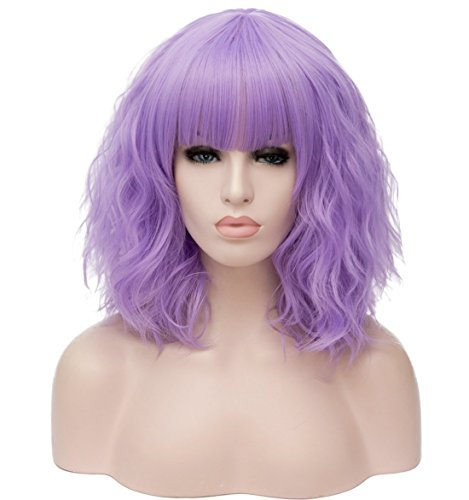 Mildiso Lavender Wigs for Women Short Bob Wavy Heat Resistant Synthetic Soft Full Hair Wig with Bangs, 14'' Shoulder Length Cute Light Purple Wig Party Cosplay Daily Use with Comfortable Wig Cap M044LP