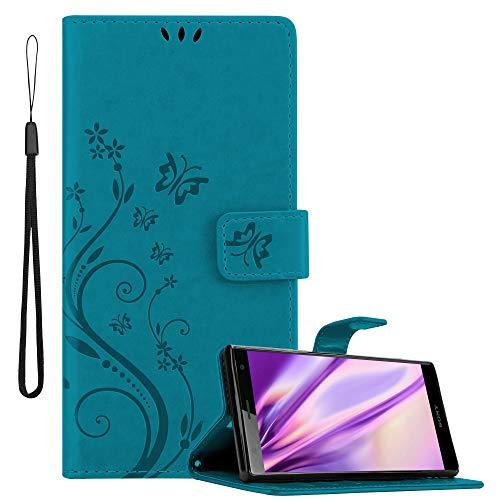 Cadorabo Hülle für Sony Xperia XZ2 in FLORAL BLAU Handyhülle im Blumen Design mit Magnetverschluss, Standfunktion & 3 Kartenfächern Hülle Cover Schutzhülle Etui Tasche