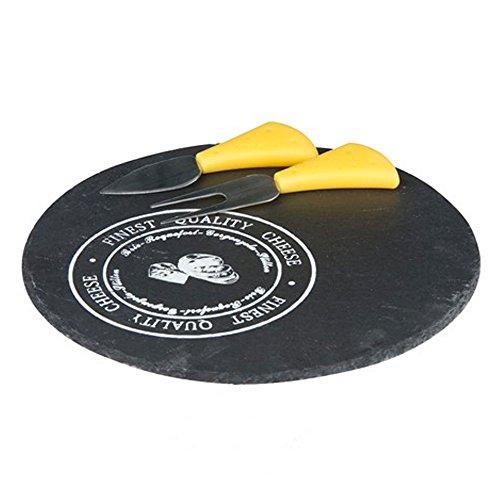 Materiale: Ardesia, Acciaio, Plastica Colore Plastica: Giallo Tagliere in ardesia e due posate (forchetta e coltello) per formaggi in acciaio inox. Diametro 23 cm