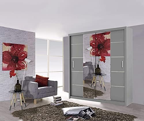 Oslo - Armario para puerta corredera de 2 y 3 puertas, 4 colores y 4 tamaños (150 cm, gris)