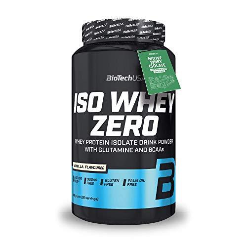 BioTechUSA Iso Whey Zero Premium Protein Isolat Pulver, Proteinpulver aus Native Whey Isolate mit L-Glutamin und BCAA angereichert, palmöl- und aspartamfrei, 908g, Vanille