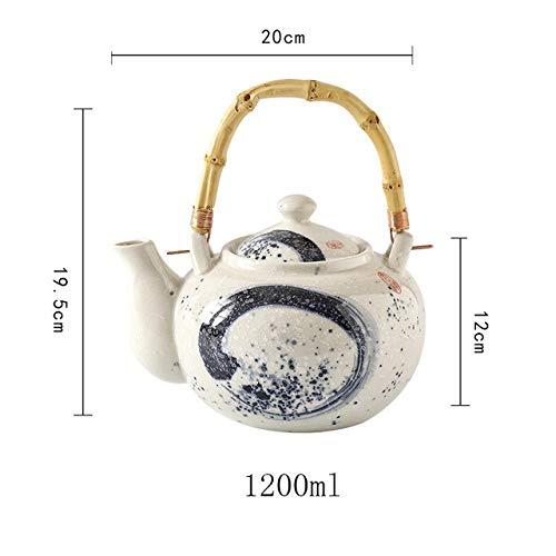 Hohe Kapazität 600/1000 / 1200 ml Traditionelle chinesische Retro handgemalte Keramik Teekanne Bambusgriff Porzellanteekanne