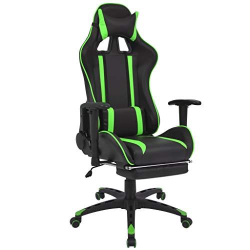vidaXL Racing Bürostuhl Neigbar mit Fußstütze Gamingstuhl Schreibtischstuhl Drehstuhl Sportsitz Chefsessel Gaming Stuhl Bürosessel Grün