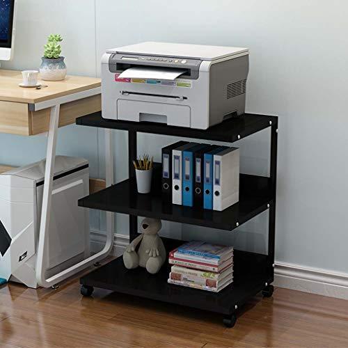 Desktop Printer Stand, Mobiele Printer Stand Organiseren Opslag met 4 Rolling Wheels Multi-Function Bureau Boekenplank voor Home Office Zwart