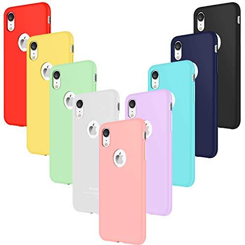 Leathlux 9X Funda iPhone XR Silicona Carcasa Ultra Fina TPU Gel Protector Flexible Cover Funda para iPhone XR - Rosa, Verde, Púrpura, Azul Cielo, Amarillo, Rojo, Azul Oscuro, Translúcido, Negro