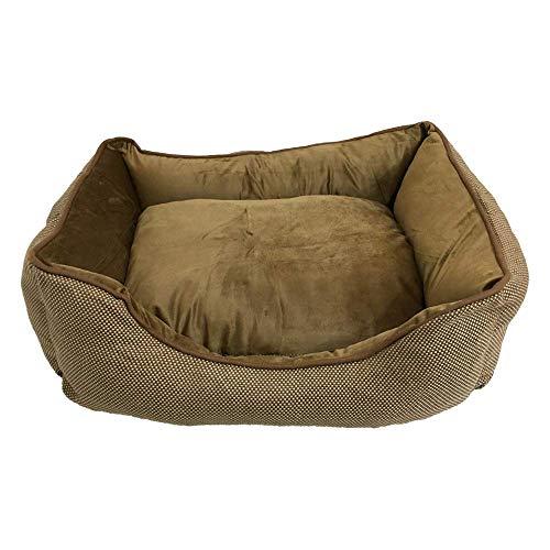 BRAVO. Cuccia per cani, materasso rettangolare con bordi laterali di colore marrone, con pois bianchi e interno imbottito per cani piccoli, medi e grandi, (taglia S, M, L) (100 x 80 cm)