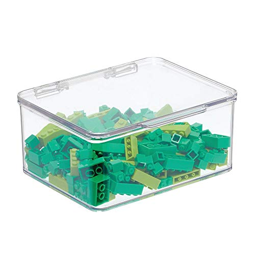 mDesign Plastic Stackable Organizer Toy Box with Attached Lid for Storage of Action Figures, Crayons, Markers, Building Blocks, Puzzles, Craft or School Supplies - 3' High - Clear
