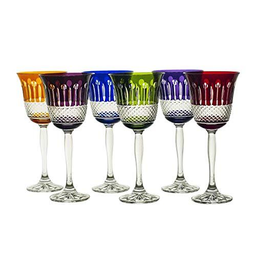 CRISTALICA Weißweinglas 6er Set 220ml gemixt Weinkelch Retro Kelch Kristallglas geschliffen