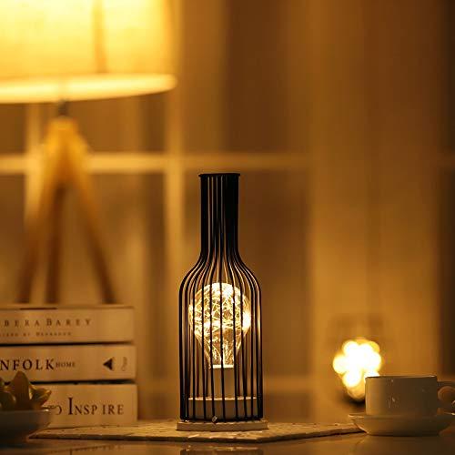 Lampada da Tavolo in Ferro Vintage Stile Gabbia luci Luce LED a Batteria Senza Fili Lampada Comodino Luce da Tavolo per Hotel Restaurant Decorazioni per la casa KTV Migliori Regali(Red Wine Bottle)