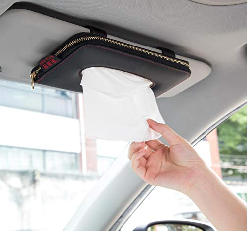 Car Tissue Holder, Car Visor Tissue Holder, Perfect Solid Color Auto Tissue Box, Tissue case Holder for car (Black)
