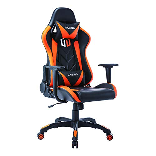 Gaming Chair Racing Office Chair Computer Desk Chair Executive and Ergonomic Reclining Swivel Chair with Headrest and Lumbar Cushion (BK/Orange) Categories