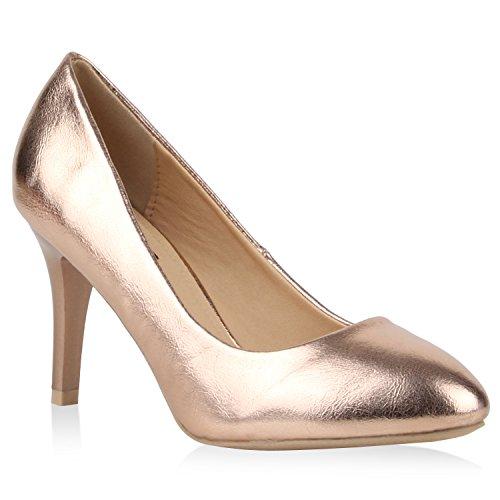 Klassische Damen Lack Pumps Elegant Abend Metallic Schuhe 110517 Bronze 37 Flandell
