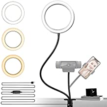 NexiGo 6 Inch LED Selfie Ring Light with Cell Phone Holder, Flexible Arms for Web Camera, 3 Dimmable Colors, 10 Brightness Levels, for Desk, Bed, Office, Makeup, YouTube, Video, Live Steaming