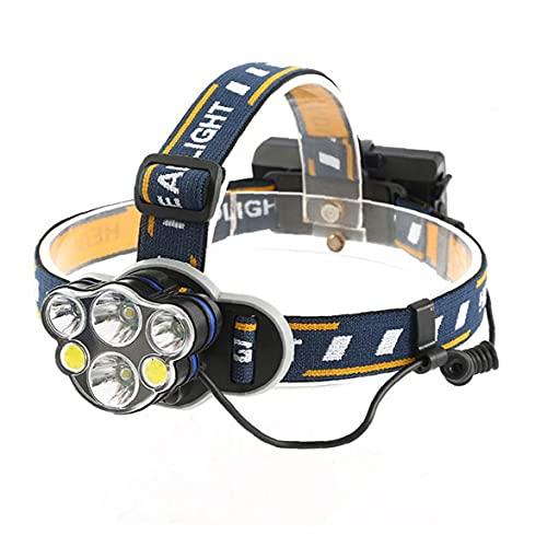 LED Cabezal de la antorcha de la Linterna Recargable del USB de la Cabeza Corriente de la antorcha para Camping Pesca de reparación de Coches al Aire Libre T-045-6LED Sin Azul batería