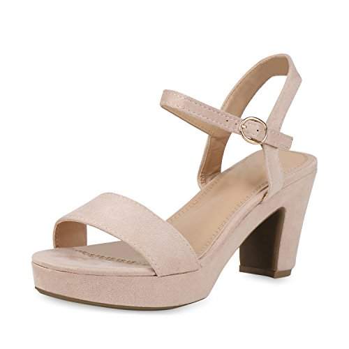 SCARPE VITA Damen Pumps Plateau Sandaletten Party High Heels Wildleder-Optik Schuhe Elegante Partyschuhe Abendschuhe Absatzschuhe 158294 Nude 37