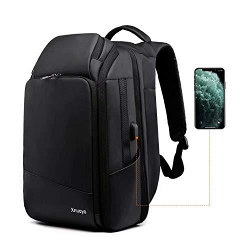 Xnuoyo 15.6 Pollici Zaino per PC, TSA Smart Scan Laptop Zaino Impermeabile all'Acqua di Grande capacità Zaino con Porta USB per Uomini Donne Viaggi Lavoro Scuola (Nero02)