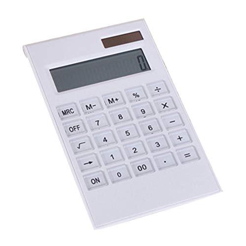 Ycljsq Creatieve platte en draagbare mini 12 digitale rekenmachine, zonne-energie, kristallen toetsenbord, dubbele stroomvoorziening