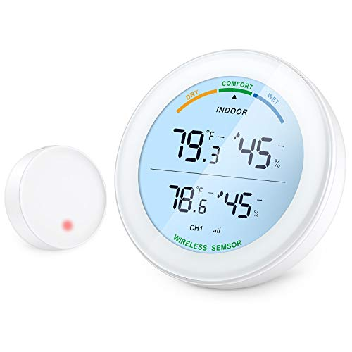 ORIA Higrómetro Termómetro Interior Exterior, Medidor de Temperatura y Humedad con Sensor Remoto, Higrómetro Digital con Pantalla LCD, Registro Mínimo/Máximo, °C / ℉ Conmutable para Oficina, Hogar