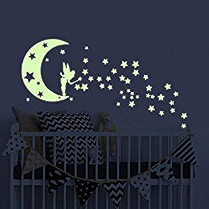Moon Glow in The Dark Wall Stickers, Benbo Fairytale Fairy and Stars Vinyl Luminous Wall Decals for Nursery Kid's Room DIY Home Decor Mural Decoration