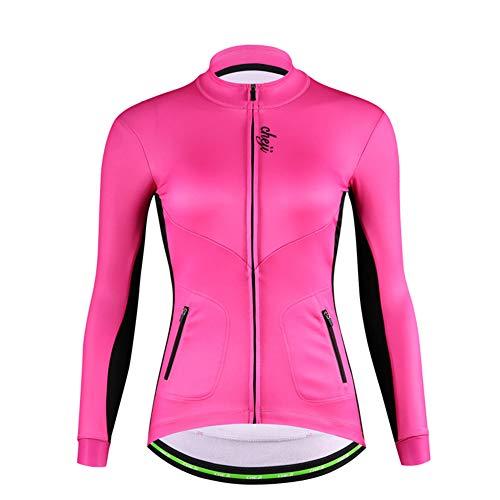 DuShow Mujeres térmica Ciclismo Polar Chaqueta Invierno Manga Larga Ciclismo Jersey Térmico Shoftsell a prueba de viento bicicleta Jersey, Mujer, PINK-FLEECE-201704, rosa, M:5'1'-5'3';99-110(lb)