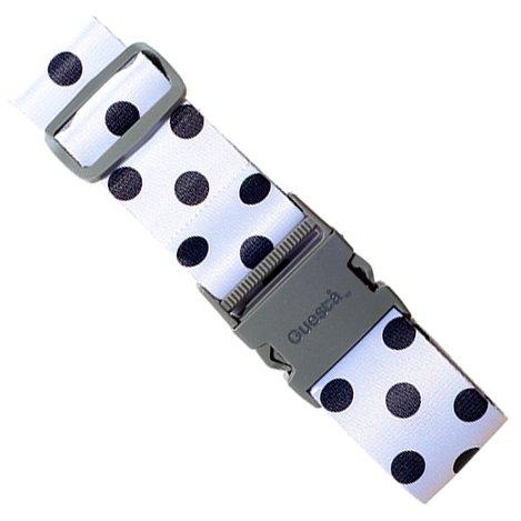 シンプルで可愛いラゲッジベルト スペインデザイナーのスーツケースベルト 旅行で便利 ワンタッチ式 (ホワイトドット)