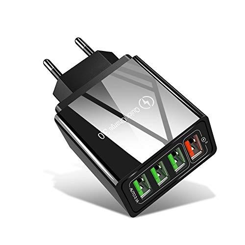 Xyamzhnn Chargeur de téléphone USB 3.0 30W + 3 Ports USB 2.0 téléphone Portable Tablet PC Chargeur Universel Rapide Chargeur Voyage, EU Plug (Color : Black)