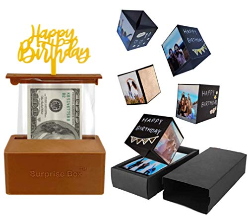 The Money Cake – Cake Money Pull Out Kit and Pop Up Explosion Boxes DIY Kit, Surprise Cubes, Plastic Roll (50 connected pockets), Happy Birthday Topper, Birthday Gift Idea