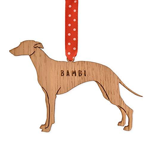 Personalised Greyhound dog shaped bauble   christmas tree decorations   present for pet keepsake ornament
