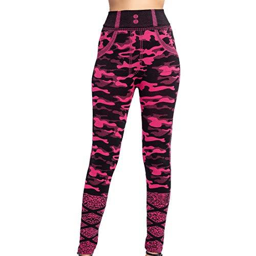 Leggings da donna Camouflage stampato Calzamaglia sportiva da fitness Pantaloni per corsa Yoga Allenamento Yoga Pantaloni Vita alta Power Capris Leggings da allenamento per il fitness Running S