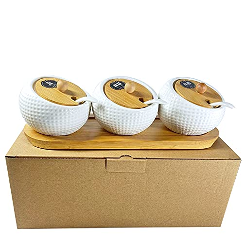 MDFQL Porcelain Condiment Jar Spice Container with Bamboo Lids & Tray, Set of 3, 6.8 Oz Pottery Cruet Pot, for Sugar Bowl Serving Tea, Coffee, Spice