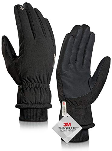 TRENDOUX Winter Gloves for Men, Waterproof Mens Winter Glove for Women 3M Thinsulate -30℉, Touchscreen, Windproof Cuff, Thick Thermal Wicking Insert, Bike Snowboard Snow Running (Black L)