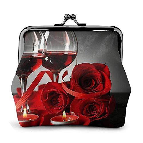 Monedero de vino tinto con rosa y vela Bule -Lo pequeño bolsa de cambio de cuero regalo para mujeres