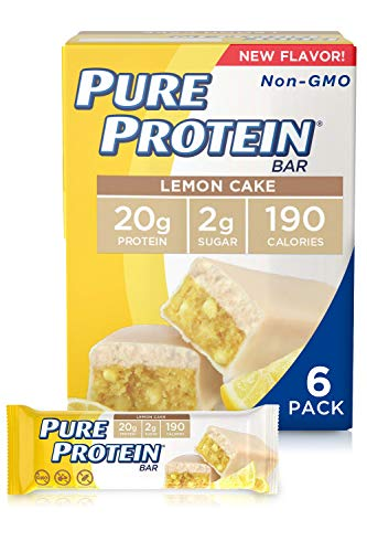 Pure Protein Bars, High Protein, Nutritious Snacks to Support Energy, Low Sugar, Gluten Free, Lemon Cake, 1.76 oz, Pack of 6