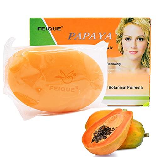 Guillala 1 Pieza Jabón para aclarar la Piel de Papaya Jabón blanqueador de Papaya Cuidado Facial, Blanqueamiento de la Piel, Pecas, Eliminación de Cicatrices de acné