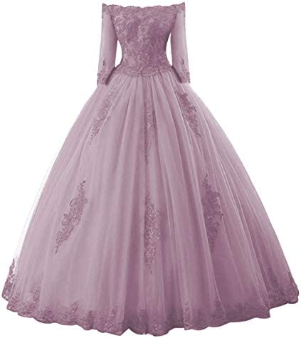 Prom Dress Long Sleeves Quinceanera Dress Off Shoulder Lace Evening Gowns Tulle Prom Dresses product image