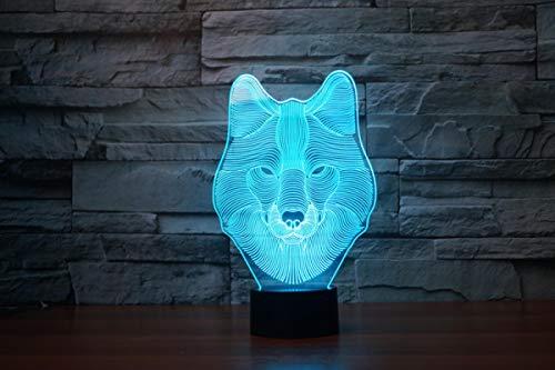 ZGBB Animal Wolf 3D LED Nightlights colorido lobo diseño lámpara de mesa adolescente lobo ilusión batería funciona luces dormitorio moderna decoración