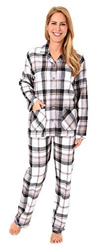Damen Flanell Pyjama Schlafanzug in edlen Karodesign - –auch in Übergrössen 201 95 243, Farbe:grau, Größe2:40/42
