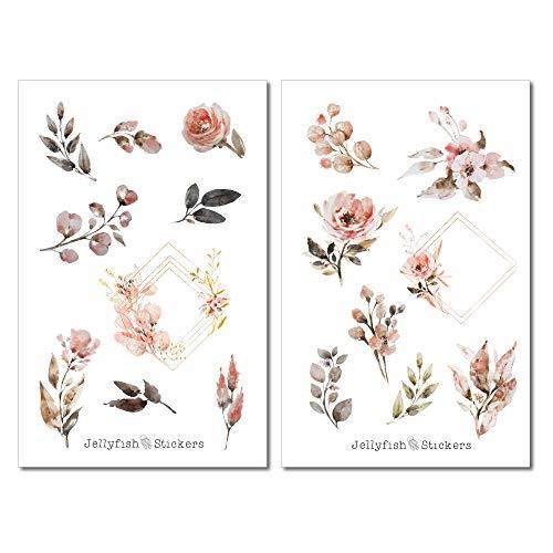 Goldene Rosen Sticker Set | Florale Aufkleber | Journal Sticker | Blumen Sticker | Planersticker