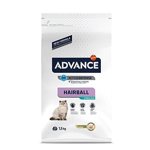 ADVANCE Hairball Sterilized - Croquettes pour Chat Stérilisé Adulte avec Dinde - 1,5Kg