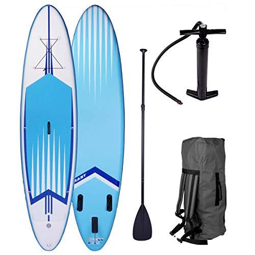 SUP Board Stand up Paddle Paddling Surfboard Pro 3 Modelle 320x76x15cm aufblasbar Alu-Paddel Hochdruck-Pumpe Rucksack Kick-Pad 130KG gewebtes Drop Stitch Blau