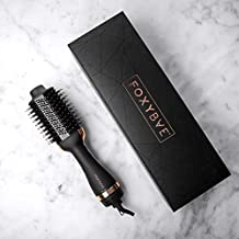 FoxyBae Blowout Dryer Brush - Professional Hair Volumizer Brush with Nylon and Boar Bristles - Hair Dryer and Brush Combo - Shine Enhancing Brush - Perfect Hair Styling Tool - Rose Gold