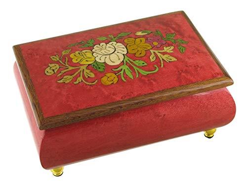 """Caja de música para joyas / joyero musical de madera con marquetería \""""flores\"""" (Ref: 89227) - El vals de Amélie Poulain - Amélie (Yann Tiersen)"""