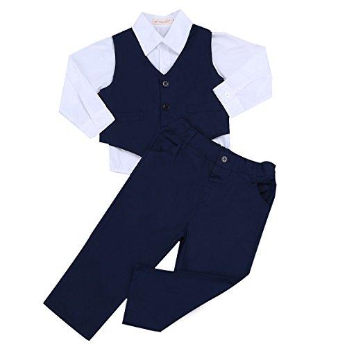 TiaoBug Baby Junge Anzug Smoking Klein Kinder Anzug Set Hochzeit Festliche Kleidung Gentleman Anzüge Baumwolle Marineblau&Weiß 98-104