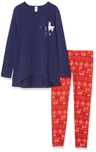 Skiny Mädchen Cosy Night Sleep Girls Pyjama lang Zweiteiliger Schlafanzug, Mehrfarbig (Christmas Blue 2180), (Herstellergröße: 152)