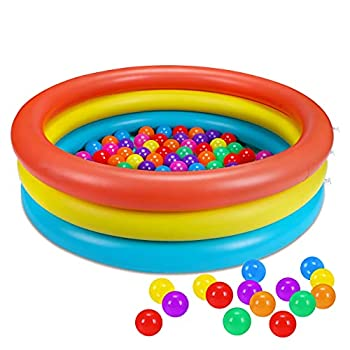 Baby Kiddie Pool + 50PCS Pit Balls - Inflatable Small Infant Toddler Kids Plastic Blow up Pools Swimming Water Supplies Outdoor Outside